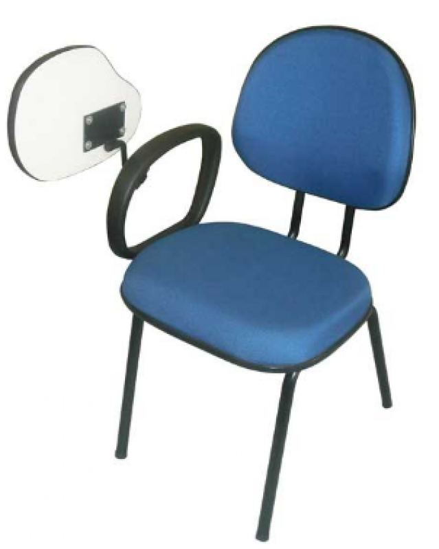 Cadeira Universitária Azul Cotar Monte Castelo - Cadeira Universitária Estofada com Prancheta