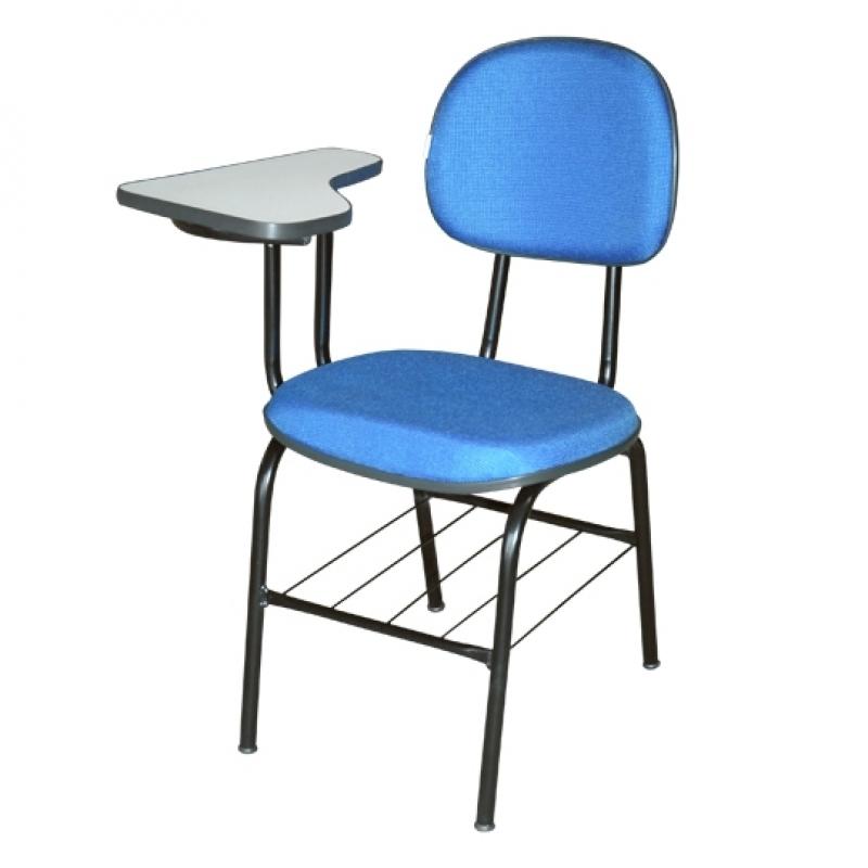 Cadeira Universitária Azul Boa Vista - Cadeira Universitária Estofada com Prancheta