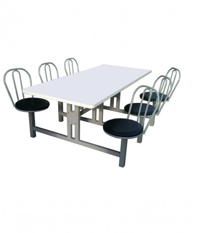 Empresa de Mesa com Cadeira Acoplada para Refeitório Corupá - Mesa para Refeitório com Bancos Escamoteáveis 8 Lugares