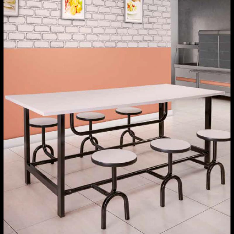Mesa com Cadeira Acoplada para Refeitório Preços Nova Brasília - Mesa para Refeitório com Bancos Escamoteáveis 8 Lugares