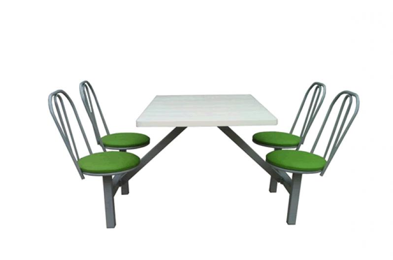 Mesa com Cadeira Acoplada para Refeitório Itapema - Mesa para Refeitório com Bancos Escamoteáveis 8 Lugares