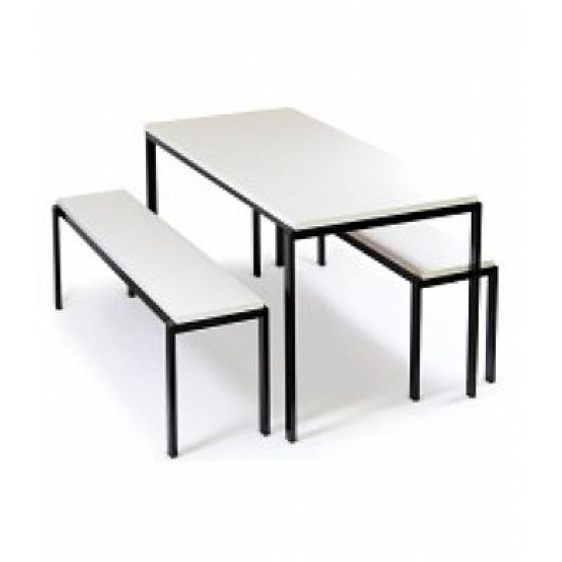 Mesas com Cadeiras Acoplada para Refeitório Ilha da Figueira - Mesa para Refeitório com Bancos Escamoteáveis 8 Lugares